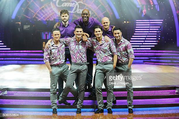 Jay McGuiness Ainsley Harriott Jake Wood Kevin Clifton Aljaz Skorjanec Gleb Savchenko and Giovanni Pernice pose for a photo during the Strictly Come...