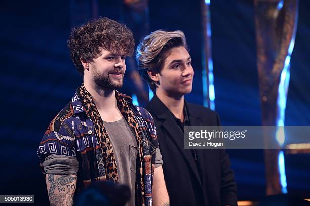 Jay McGuiness and George Shelley onstage at the nominations launch for The Brit Awards 2016 at ITV Studios on January 14 2016 in London England