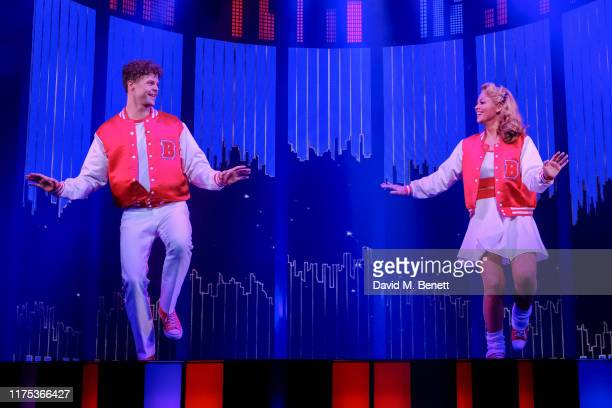 Jay McGuiness and Kimberley Walsh bow at the curtain call during the press night performance of Big The Musical at The Dominion Theatre on September...