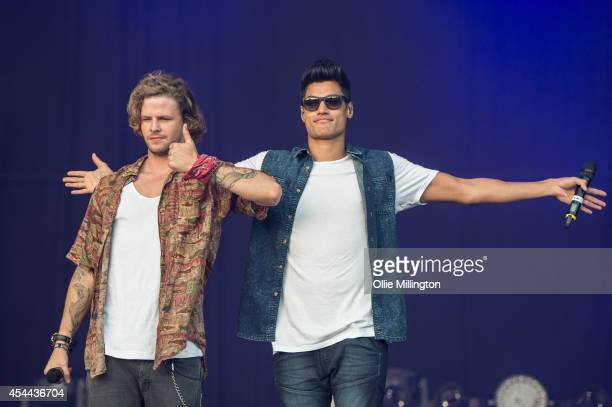 Jay McGuiness and Siva Kaneswaran of The Wanted perform onstage during day 2 of Fusioni Festival 2014 on August 31 2014 in Birmingham England