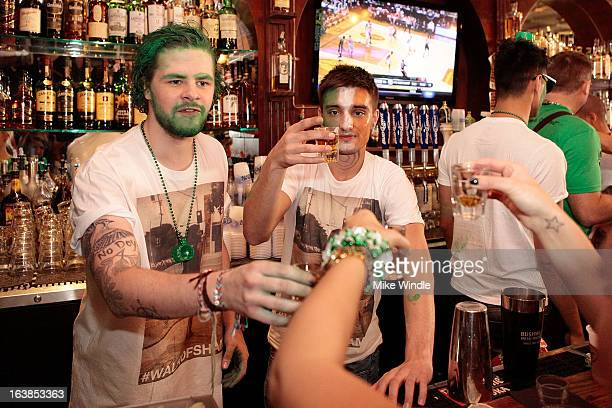 Jay McGuiness and Tom Parker of The Wanted attend Rock Reilly's Irish Rock Pub hosts 2nd annual St Paddy's block party on Sunset Strip on March 16...