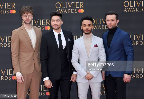 Jay McGuiness Aston Merrygold Louis Smith and Harry Judd attend The Olivier Awards 2019 with MasterCard at Royal Albert Hall on April 07 2019 in...