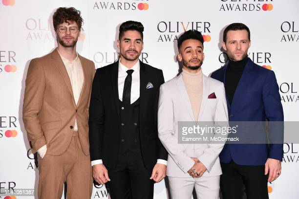 Jay McGuiness Aston Merrygold Louis Smith and Harry Judd poses in the press room during The Olivier Awards with Mastercard at Royal Albert Hall on...