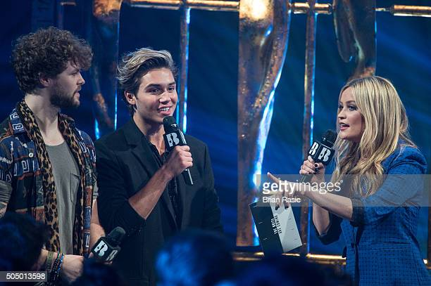 ONLY] Jay McGuiness George Shelley and Laura Whitmore at the nominations launch for The Brit Awards 2016 at ITV Studios on January 14 2016 in London...