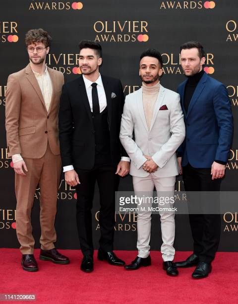 Jay McGuiness Louis Smith Aston Merrygold and Harry Judd attend The Olivier Awards 2019 with MasterCard at the Royal Albert Hall on April 07 2019 in...