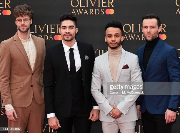 Jay McGuiness Louis Smith Aston Merrygold and Harry Judd attends The Olivier Awards 2019 with MasterCard at the Royal Albert Hall on April 07 2019 in...
