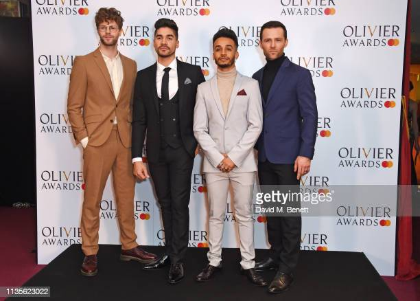 Jay McGuiness Louis Smith Aston Merrygold and Harry Judd pose in the press room at The Olivier Awards 2019 with Mastercard at The Royal Albert Hall...