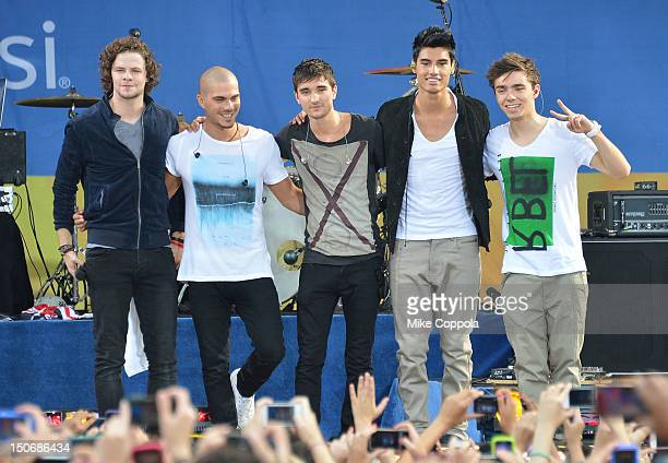 """Jay McGuiness, Max George, Tom Parker, Siva Kaneswaran, and Nathan Sykes of The Wanted perform on ABC's """"Good Morning America"""" at Rumsey Playfield,..."""