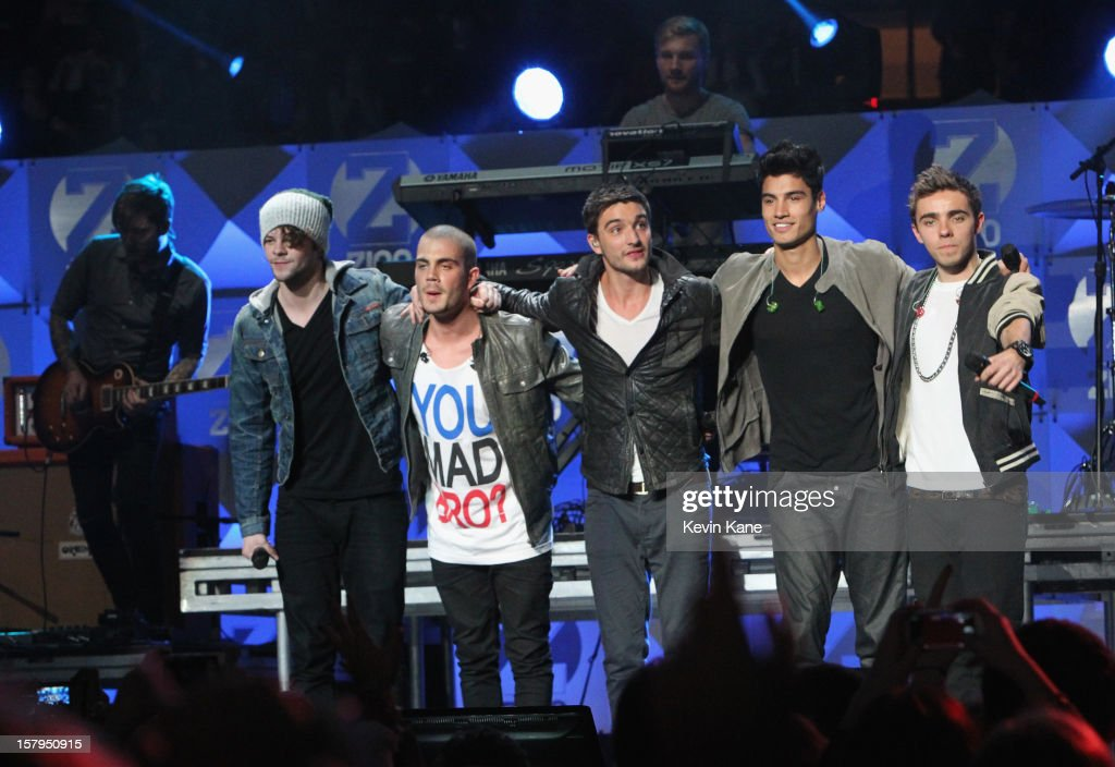 Jay McGuiness, Max George, Tom Parker, Siva Kaneswaran and Nathan Sykes of The Wanted perform onstage during Z100's Jingle Ball 2012, presented by Aeropostale, at Madison Square Garden on December 7, 2012 in New York City.