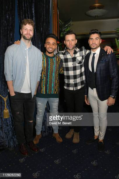 Jay McGuinness Aston Merrygold Harry Judd and Louis Smith attend the press night after party for Rip It Up at Cafe de Paris on February 12 2019 in...