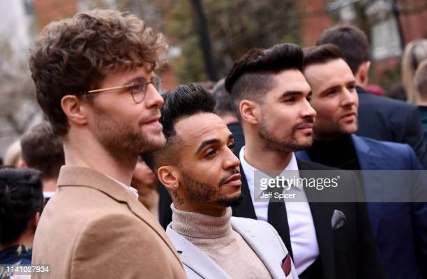 Jay McGuinness Aston Merrygold Louis Smith and Harry Judd attend The Olivier Awards with Mastercard at the Royal Albert Hall on April 07 2019 in...