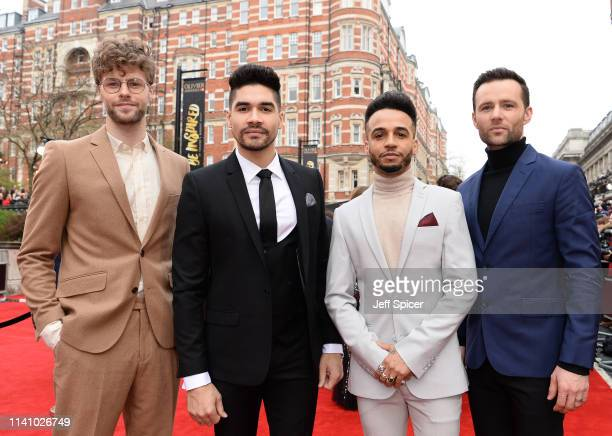 Jay McGuinness Louis Smith Aston Merrygold and Harry Judd attend The Olivier Awards with Mastercard at the Royal Albert Hall on April 07 2019 in...