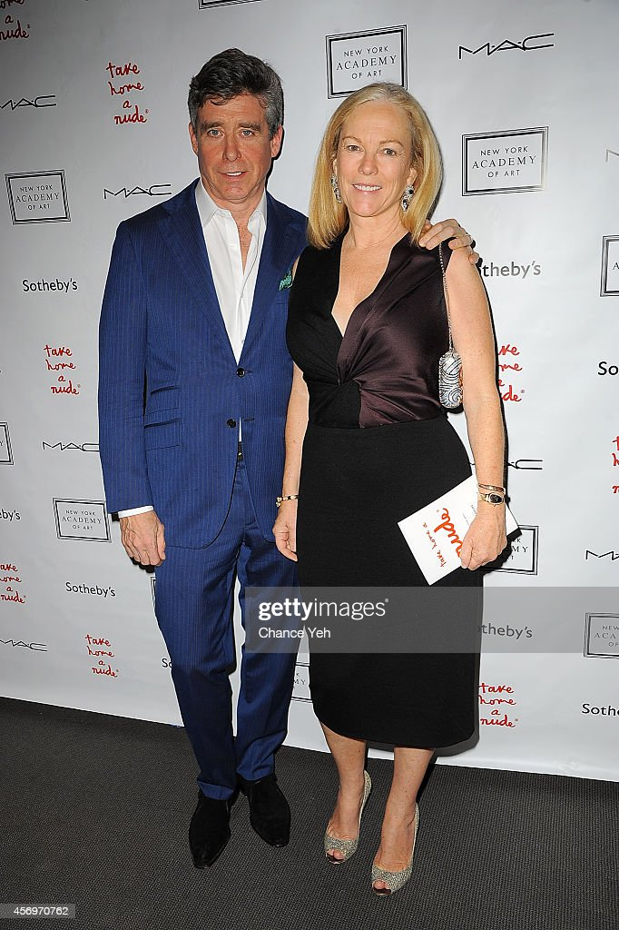 Jay McInerney and Anne Hearst attends 2014 Take Home A Nude Event at Sotheby's on October 9, 2014 in New York City.