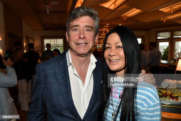 Jay McInerney and Helen Lee Schifter attend Cocktails to Learn About The Sag Harbor Cinema Project at Le Bilboquet on June 16 2017 in Sag Harbor New...