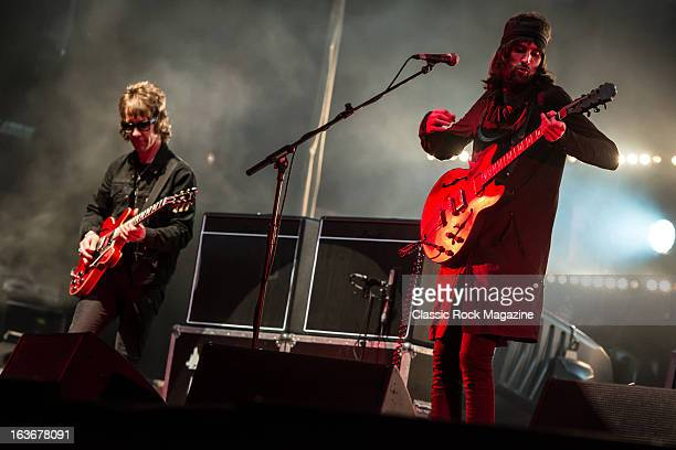 Jay Mehler and Sergio Pizzorno of British indie rock band Kasabian performing live onstage at Reading Festival, August 25, 2012.