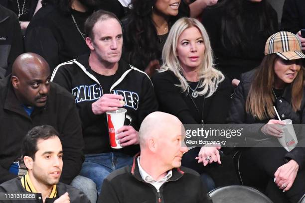 Jay Mohr and Jeanie Buss attend a basketball game between the Los Angeles Lakers and the Houston Rockets at Staples Center on February 21 2019 in Los...