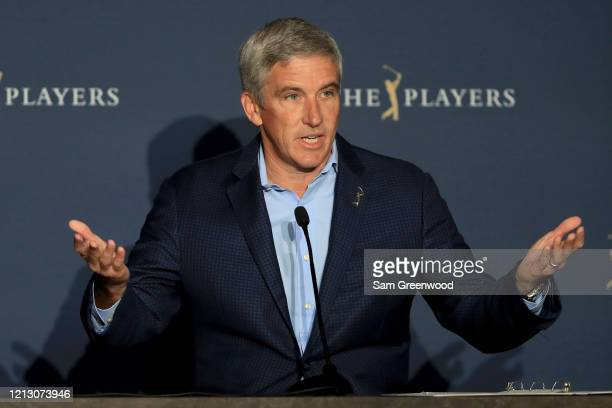 Jay Monahan, PGA Tour Commissioner, addresses the media regarding the cancellation of The PLAYERS Championship and consecutive events through April...