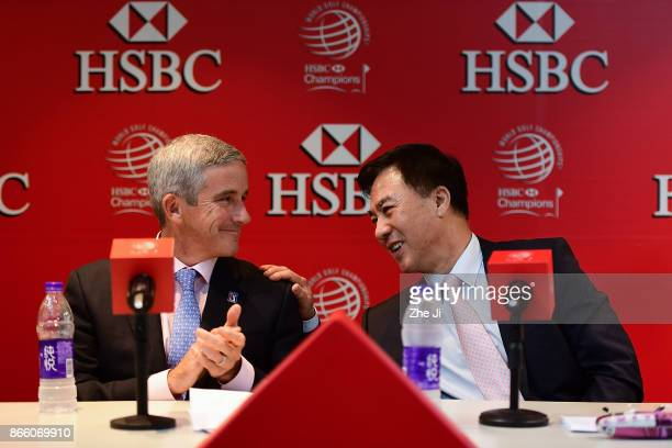 Jay Monahan PGA TOUR Commissioner and Zhang Xiaoning China Golf Association President at the PGA TOUR press conference during the WGC HSBC Champions...