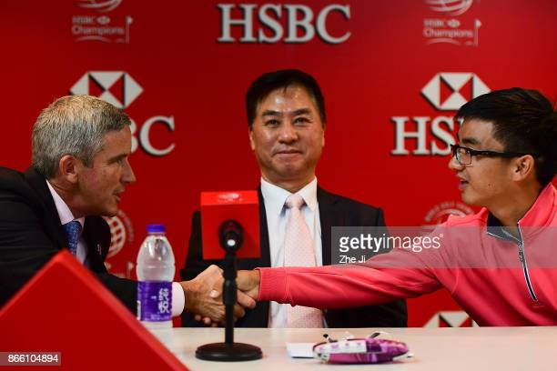 Jay Monahan PGA TOUR Commissioner Zhang Xiaoning China Golf Association President and Zecheng Dou Chinese player at the PGA TOUR press conference...