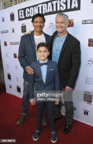 Jay Montalvo Alex de Hoyos and Sebastian Cano arrive for the American Cinematheque And Apertura Showcase Present Screening Of 'El Contratista' held...