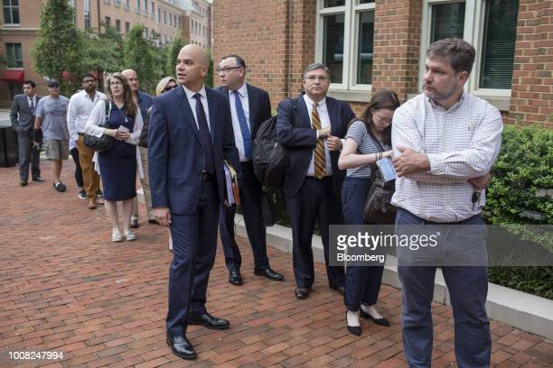 Jay Nanavati cocounsel for former Trump Campaign Manger Paul Manafort center left and Richard Westling cocounsel for former Trump Campaign Manger...