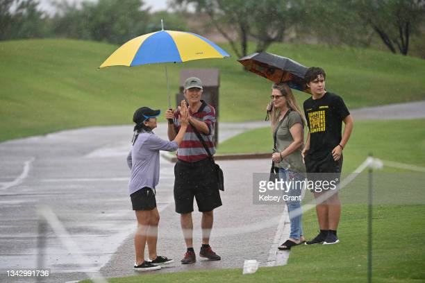 Jay Nergard's family reacts to his putt during the 2021 Drive, Chip and Putt Regional Qualifier at TPC Scottsdale on September 26, 2021 in...