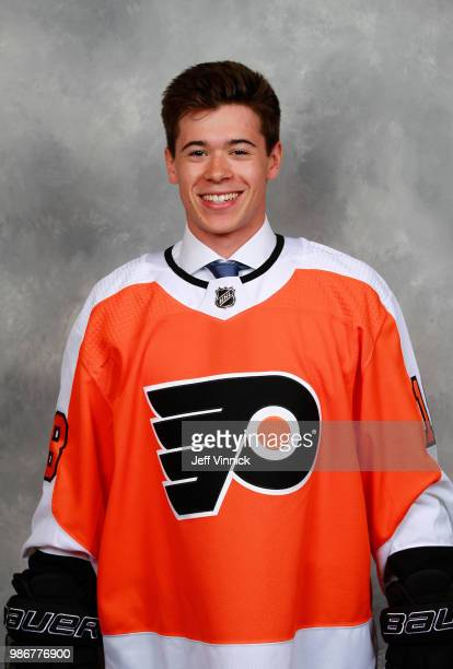 Jay O'Brien poses for a portrait after being selected nineteenth overall by the Philadelphia Flyers during the first round of the 2018 NHL Draft at...