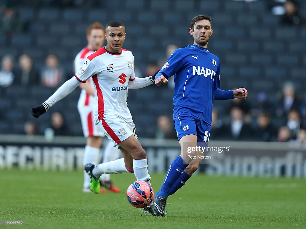 Jay O'Shea of Chesterfield plays the ball during the FA Cup Second Round match between MK Dons and Chesterfield at Stadium mk on December 6, 2014 in Milton Keynes, England.