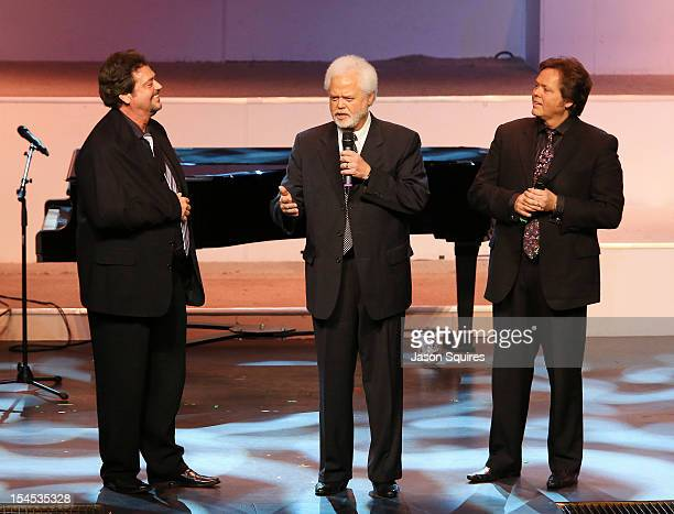 Jay Osmond Merril Osmond and Jimmy Osmond attend a memorial service for entertainer Andy Williams on October 21 2012 in Branson Missouri Williams...