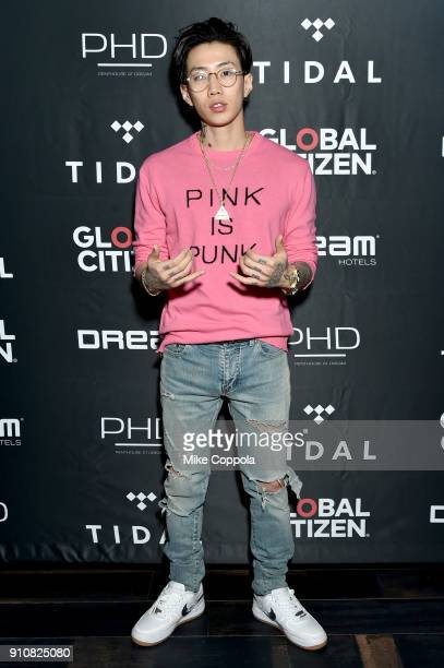 Jay Park attends a preGrammy celebration cohosted by Global Citizen Tidal and French Montana at PhD Rooftop Lounge at Dream Downtown on January 26...