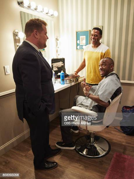 Jay Pharoah chats in the green room with James Corden during 'The Late Late Show with James Corden' Monday October 2 2017 On The CBS Television...