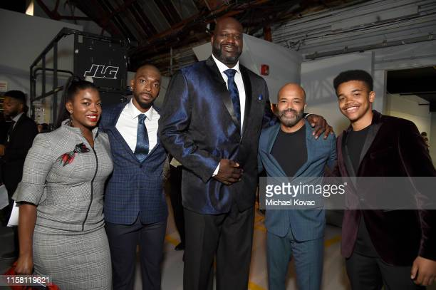 Jay Pharoah Shaquille O'Neal Jeffrey Wright and Elijah Wright attend the 2019 NBA Awards presented by Kia on TNT at Barker Hangar on June 24 2019 in...