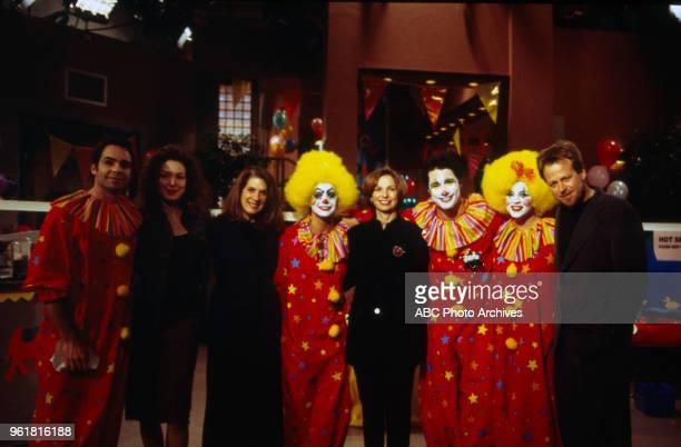 Jay Pickett Lisa Ann Hadley Nancy Platt Jacoby Michael Dietz Kin Shriner main cast dressed as clowns behind the scenes on 'Port Charles'