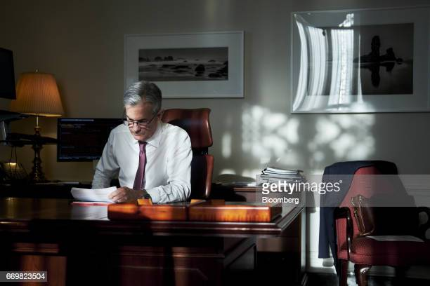 Jay Powell governor of the US Federal Reserve works in his office at the board's headquarters in Washington DC US on Thursday April 13 2017 As the...