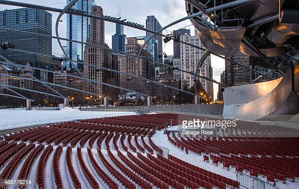 Jay Pritzker Pavilion an outdoor entertainment complex in Millennium Park designed by Frank Gehry is coated in ice and snow on March 2 2015 in...