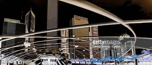 Jay Pritzker Pavilion In City At Night