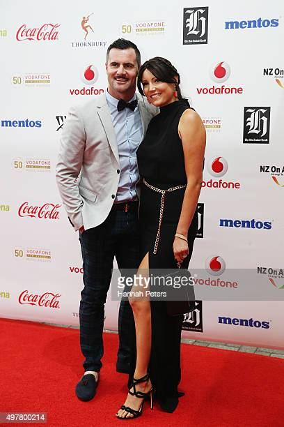 Jay Reeves and Anna Fitzpatrick pose for a photo on the red carpet at the Vodafone New Zealand Music Awards at Vector Arena on November 19 2015 in...
