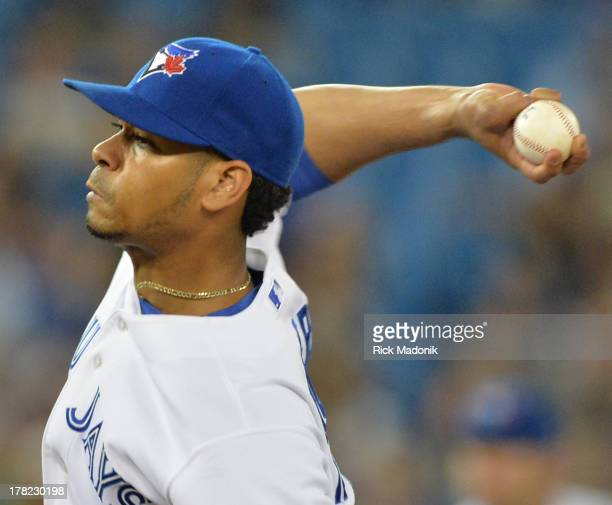 TORONTO ON AUGUST 27 Jay reliever Esmil Rogers Toronto Blue Jays host New York Yankees at Roger's Centre in Toronto onAugust 27 2013