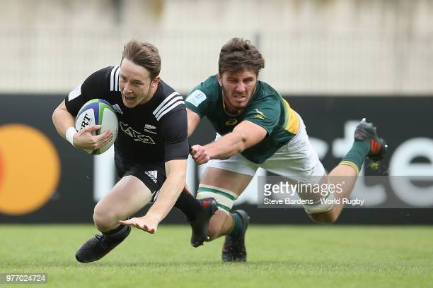 Jay Renton of New Zealand scores a try during the World Rugby Under 20 Championship 3rd Place play off match between South Africa and New Zealand at...