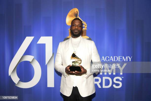 Jay Rock poses with his award at the 61st Annual GRAMMY Awards Premiere Ceremony at Microsoft Theater on February 10 2019 in Los Angeles California