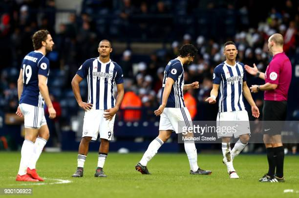 Jay Rodriguez, Jose Salomon Rondon, Ahmed El-Sayed Hegazi and Kieran Gibbs of West Bromwich Albion speak with the Match Referee on the full time...