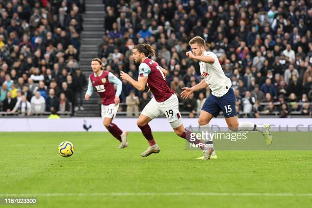 LONDON ENGLAND DECEMBER 7TH Jay Rodriguez of Burnley battles for possession with Eric Dier of Tottenham during the Premier League match between...