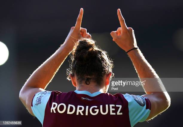 Jay Rodriguez of Burnley celebrates after scoring his sides first goal during the Premier League match between Burnley FC and Watford FC at Turf Moor...