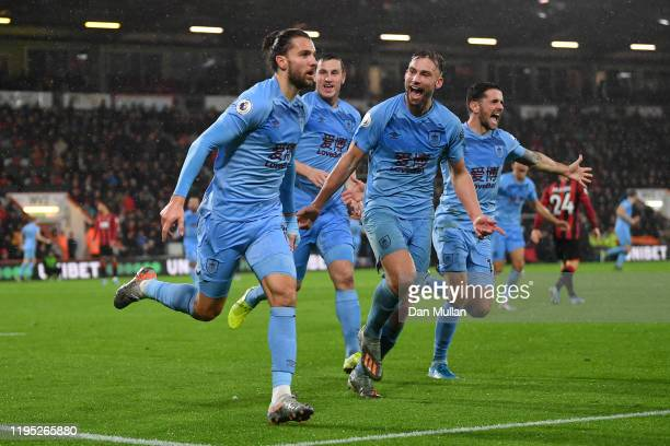 Jay Rodriguez of Burnley celebrates after scoring his team's first goal during the Premier League match between AFC Bournemouth and Burnley FC at...