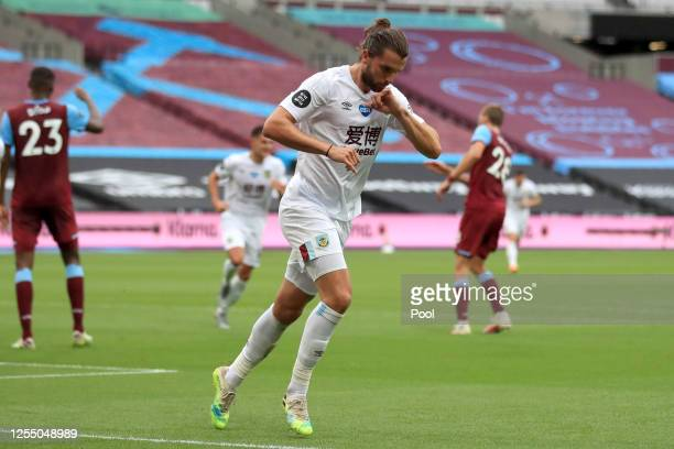 Jay Rodriguez of Burnley celebrates after scoring his teams first goal during the Premier League match between West Ham United and Burnley FC at...