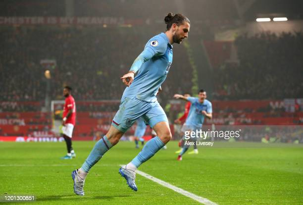 Jay Rodriguez of Burnley celebrates after scoring his team's second goal during the Premier League match between Manchester United and Burnley FC at...