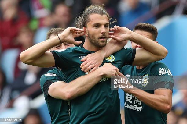 Jay Rodriguez of Burnley celebrates scoring his team's opening goal during the Premier League match between Aston Villa and Burnley FC at Villa Park...