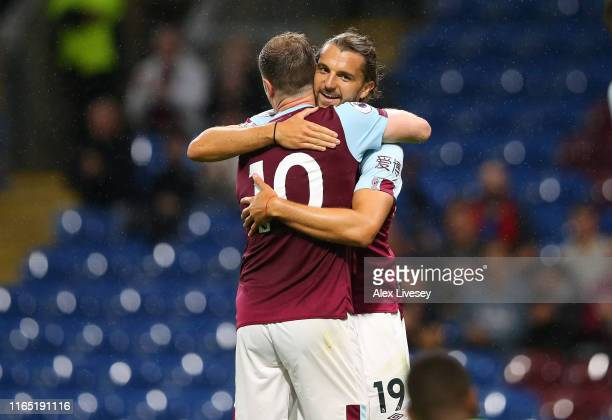 Jay Rodriguez of Burnley celebrates with Ashley Barnes after scoring the sixth goal during a pre-season friendly match between Burnley and Nice at...