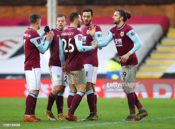 Jay Rodriguez of Burnley celebrates with Dwight McNeil and team mates after scoring their side's second goal during The Emirates FA Cup Fourth Round...