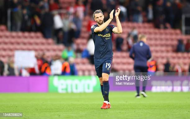 Jay Rodriguez of Burnley during the Premier League match between Southampton and Burnley at St Mary's Stadium on October 23, 2021 in Southampton,...